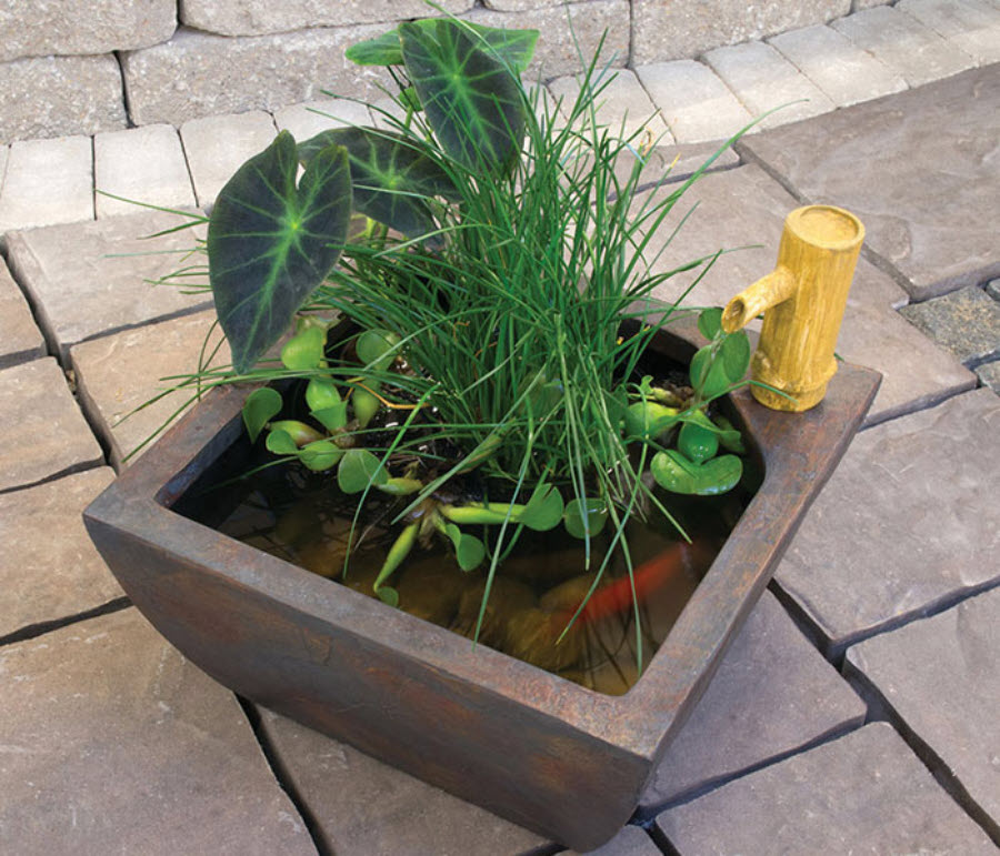 Container pond for patio balcony by aquascape for Balcony koi pond