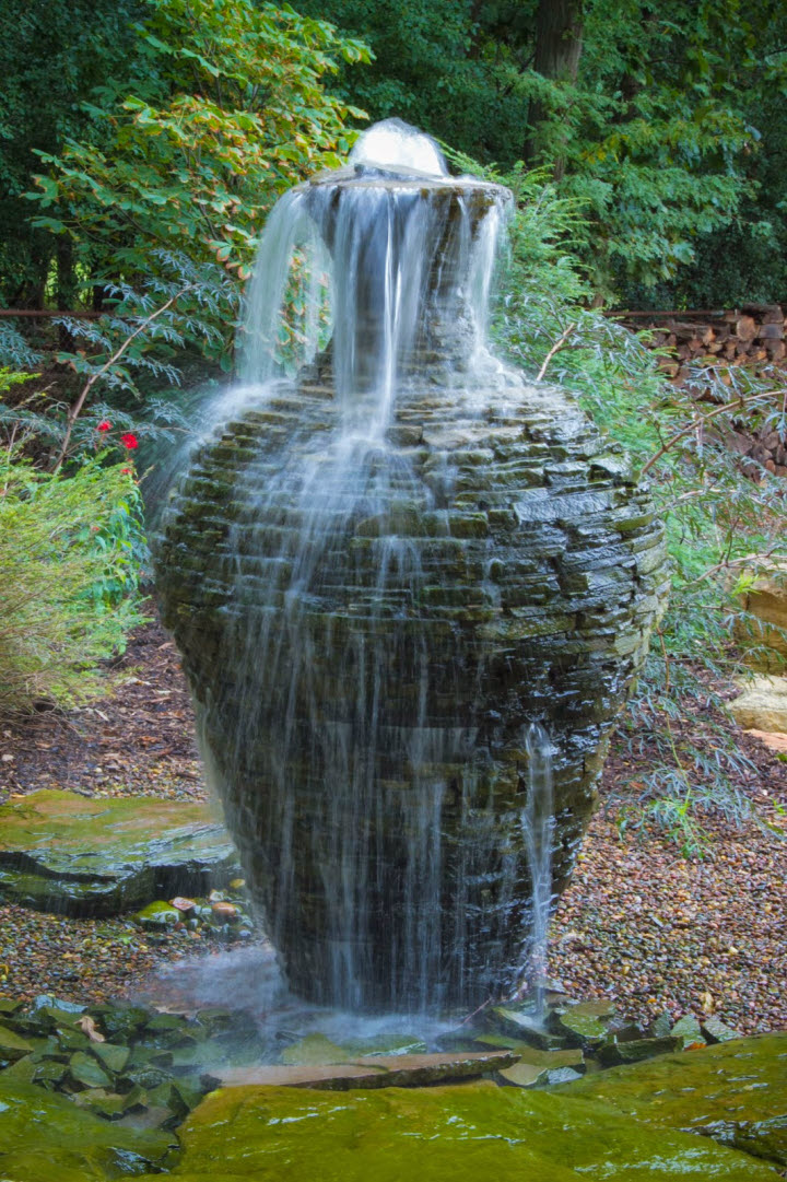 Stacked slate urn fountains by aquascape for Waterfall fountain