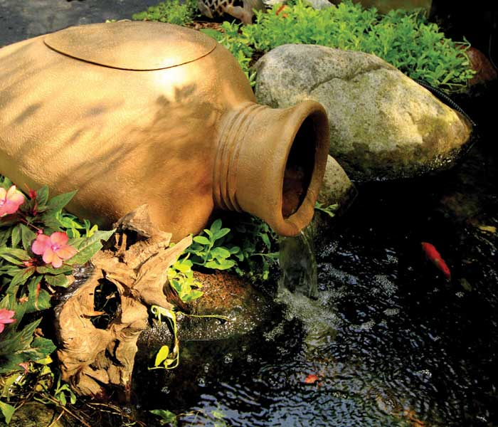 Filter urn for decorative ponds by aquascape for Garden pond materials