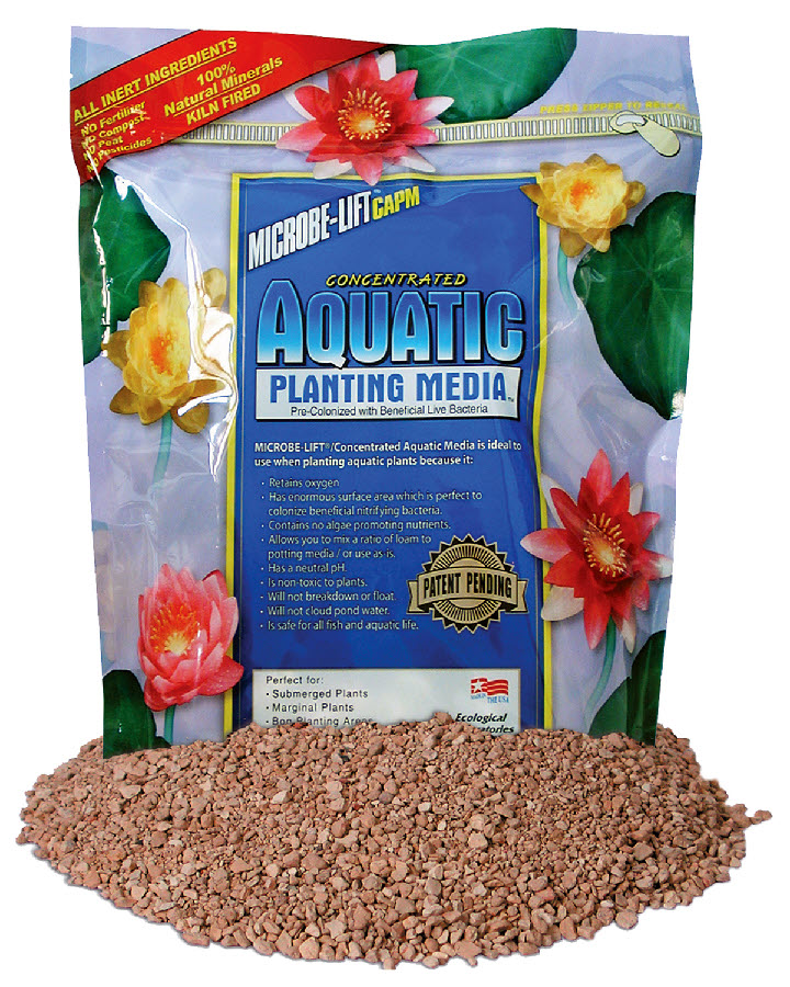 Aquatic planting media with beneficial bacteria by microbe for Pond plant supplies