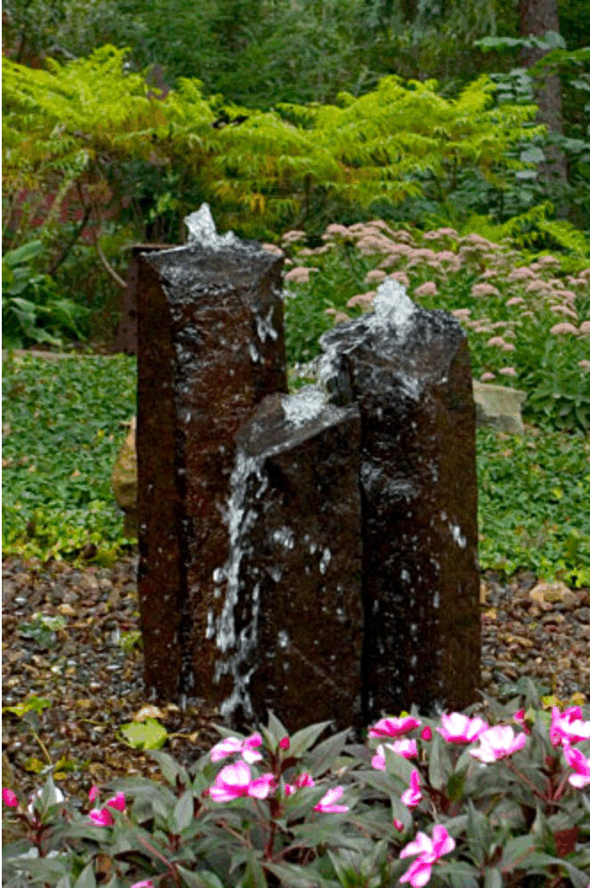 Natural Mongolian Basalt Column Decorative Fountains Real Imported Stone