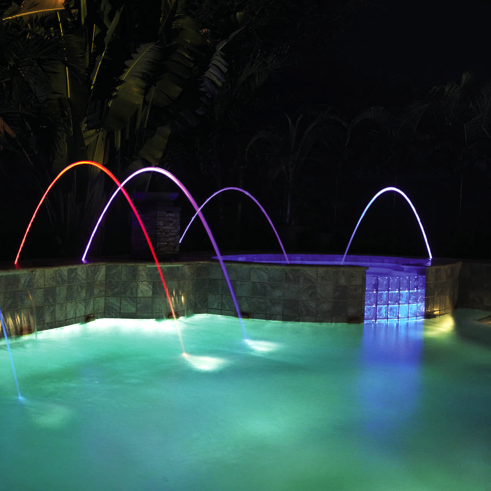 Laminar Stream Fountain With Multi Color Led By Lifegard
