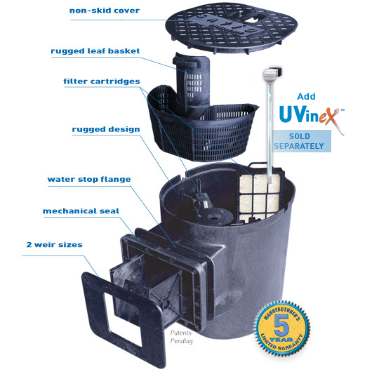 Compact skimmerfilter pond skimmer filter system by savio for Best filter system for small pond